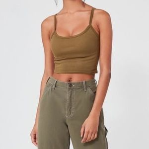 Out from under ribbed crop tank